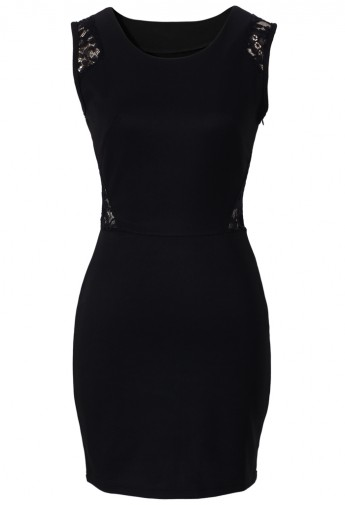 Black shift dress with lace detail
