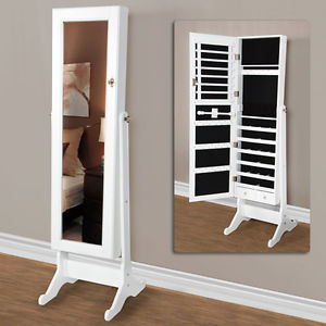 White Mirrored Jewelry Cabinet Amoire w Stand Mirror Rings Necklaces Bracelets   eBay
