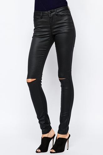 pants leather leggings leather pants black ripped edgy cool