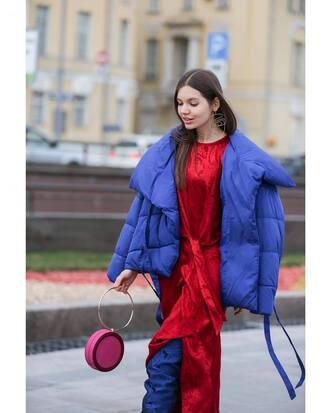 jacket tumblr blue jacket puffer jacket dress red dress slit dress boots bag round bag handbag
