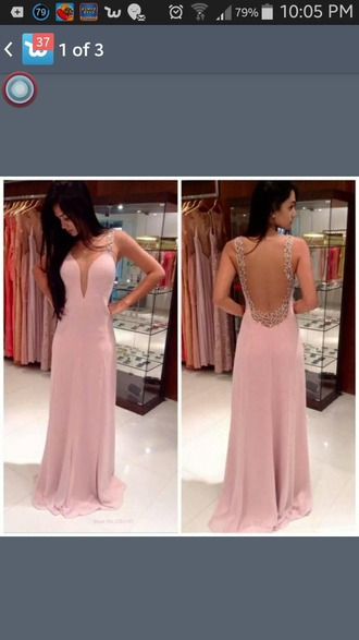 dress pink dress silver detail backless dress prom dress scoop neckline chiffon evening gown floor length dress baby pink