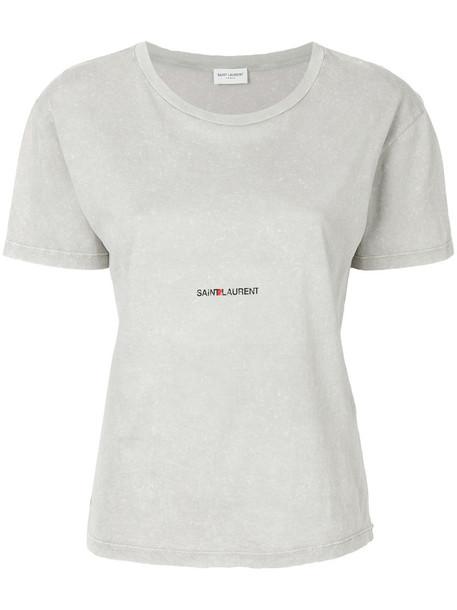 Saint Laurent - brand stamped T-shirt - women - Cotton - L, Grey, Cotton
