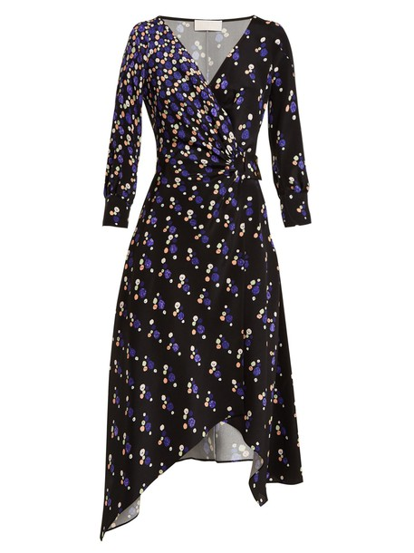 dress wrap dress print silk navy