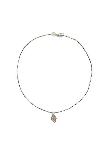 women necklace silver cotton blue jewels