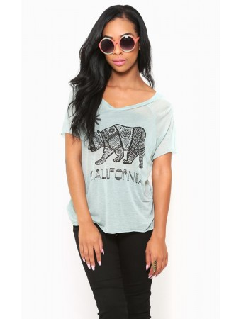 Aztec CALIFORNIA Bear Top - Novelty SS Tops - Novelty Knit Tops - Tops
