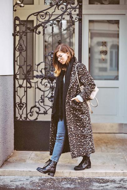 coat tumblr printed coat printed long coat long coat scarf denim jeans blue jeans boots black boots leopard print