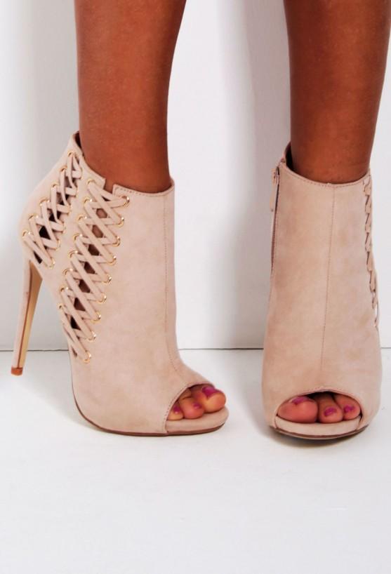 Anushka nude suedette peep toe lace heel boots
