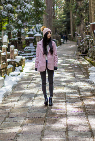 metallic paws blogger coat jeans hat shoes