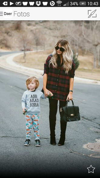 blouse plaid shirt flannel shirt flannel black red bag sunglasses