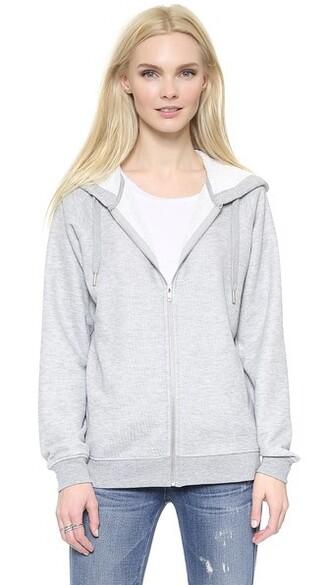 hoodie zip grey sweater
