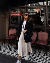 skirt,midi skirt,satin,sneakers,white sneakers,white t-shirt,blazer,black blazer,oversized,crossbody bag,sunglasses
