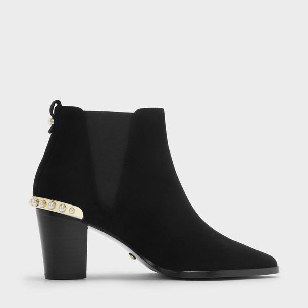 embellished heels suede black shoes