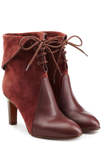 boots lace leather suede red shoes