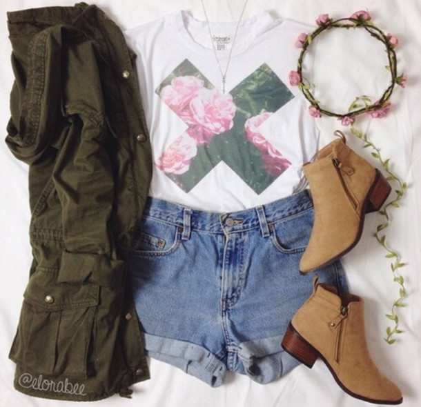 top floral cross cute vintage shirt jacket hair accessory shoes shorts t-shirt