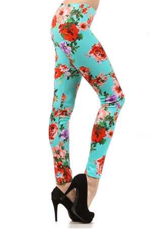 World of Leggings | Aqua Rose Leggings
