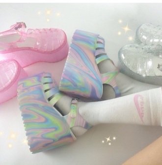 pastel platforms pastel pastel goth flatforms platform shoes platform sandals sandals shoes rainbow unif unifclothing rainbowshoes glitter sparkle lgbt dope kawaii style