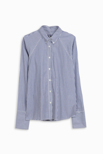 shirt button down shirt women white blue top