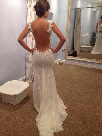 dress white lace dress backless white dress wedding dress see through dress