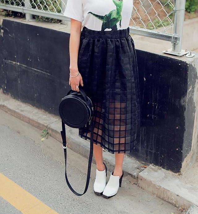 Sheer Organza Midi Skirt