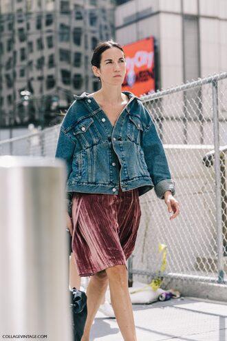 dress fashion week street style fashion week streetstyle tumblr midi dress pleated skirt pleated dress pink dress velvet velvet dress denim jacket blue jacket jacket