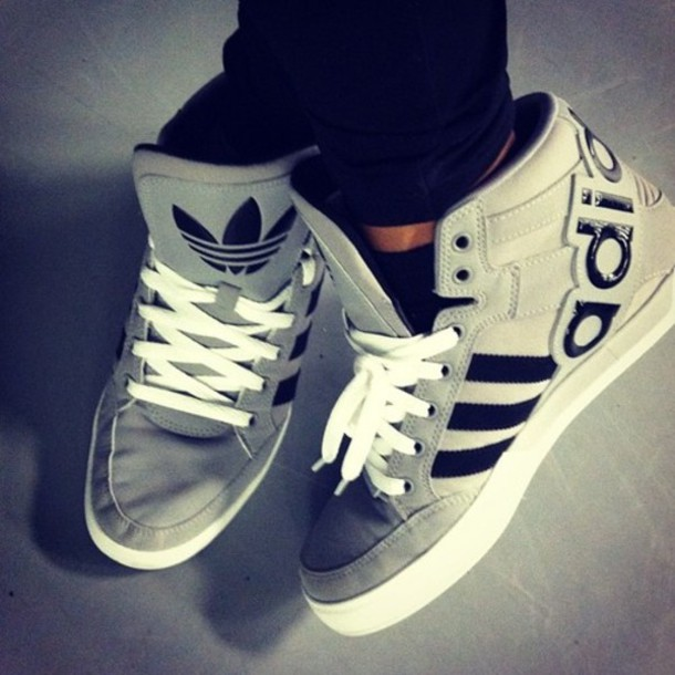 shoes adidas sneakers adidas trainers adidas shoes high tops black grey high top sneakers sneakers grey sneakers stripes adidas shoes sporty leisure blouse clothes adidas shoes gray shoes fashion beautiful swag hype white hot grey adidas sneakers trainers grey addidas high-topss gris euro france underwear