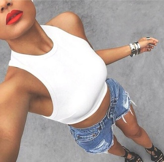 tank top white top crop tops