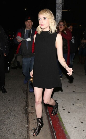 dress mini dress black dress little black dress sandals emma roberts shoes gladiators