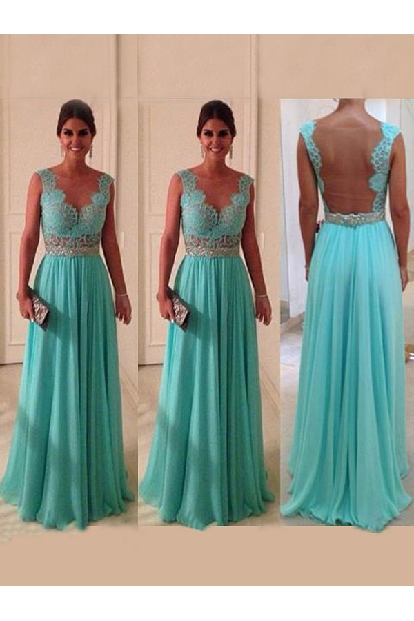 A-line V-neck Sleeveless Chiffon Prom Dresses/Evening Gowns With Lace