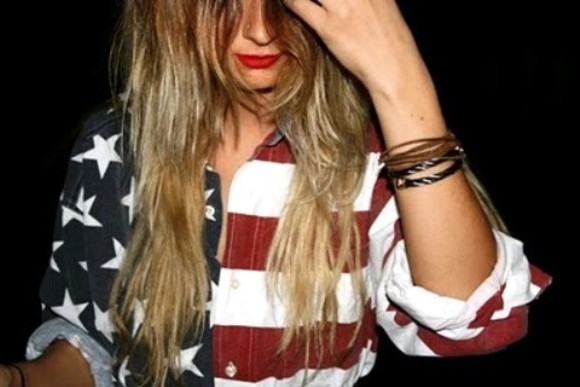 red lips shirt usa blonde hair button up jacket clothes american flag