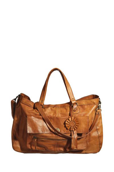 Travel bag en cuir Totally Cognac  Pieces sur MonShowroom.com