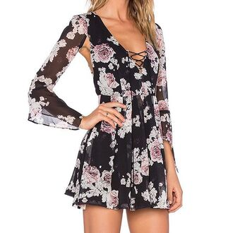 dress the jetset diaries floral dress open back open back dresses cut-out cut-out dress tie up dress lace dress see through dress little black dress black black dress