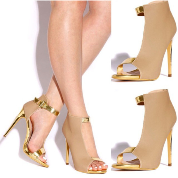 Straps Gold High Heels - Shop for Straps Gold High Heels on Wheretoget