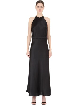 gown lace silk satin black dress