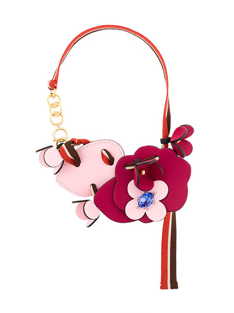 MARNI women necklace leather purple pink jewels