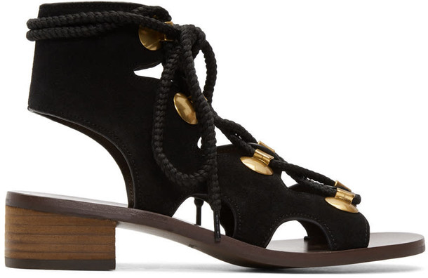 See by Chloe sandals suede black shoes