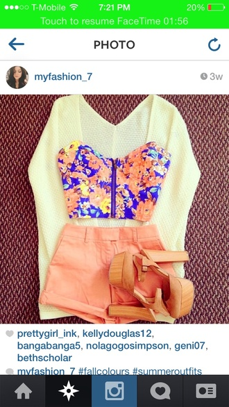 sweater shirt floral crop top flower shirt crop tops zip-up shorts high waisted shorts high heels heels with straps top blouse yellow orange floral purple cardigan romper bustier crop top floral top shoes heels summer high-heels summer\ colorful shorts fashion floral tank top skirt