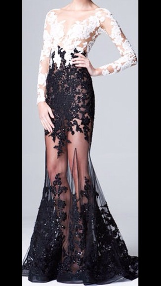 black and white runway dress white lace mesh long sleeve prom prom dress