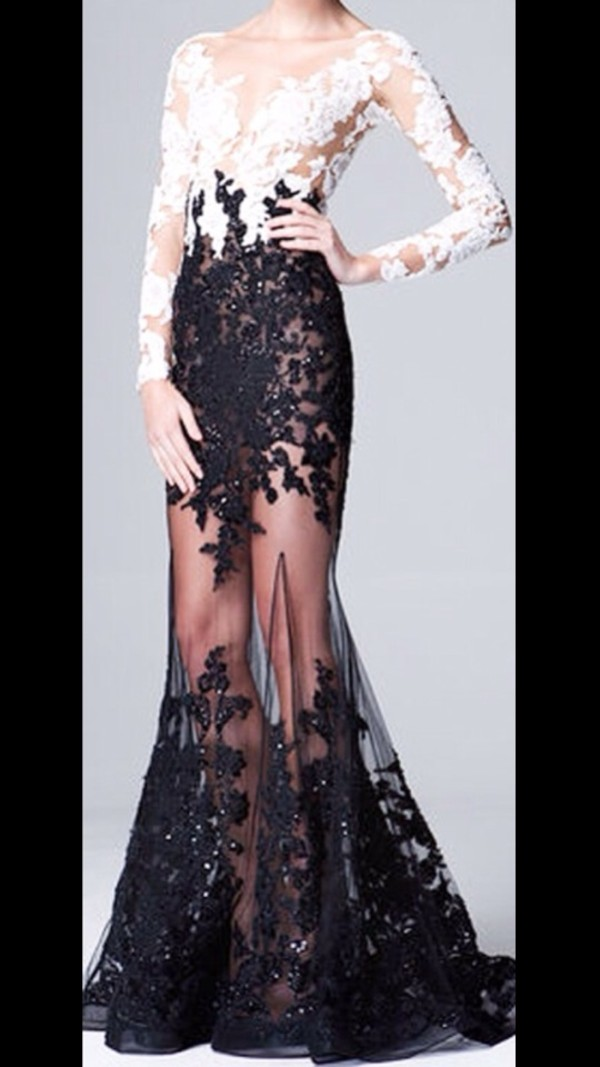 dress black and white white lace mesh long sleeves prom prom dress runway