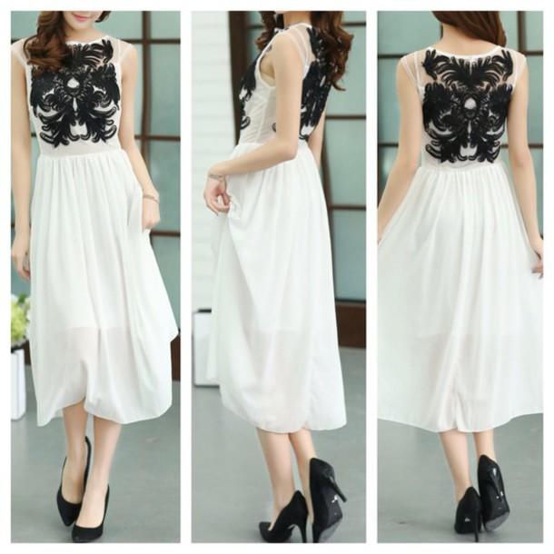 dress, lace dress, white dress, cute dress, clothes, prom dress ...