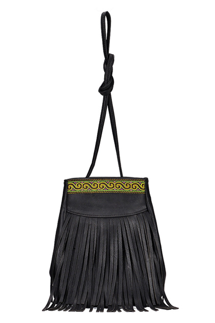 ROMWE | Tasseled Embroidered Black Shoulder Bag, The Latest Street Fashion