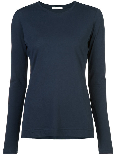 Adam Lippes - round neck long-sleeved top - women - Supima Cotton - S, Blue, Supima Cotton