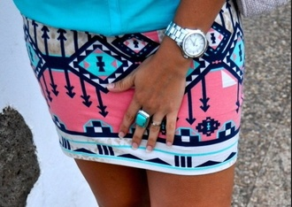 skirt atec aztec fashion blue pink ring watch thisshit love this black arrows blue pink black pencil skirt