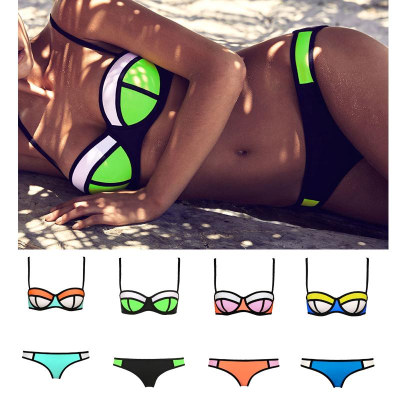 2015 bikini color contrast swimwear new style bathing suit push up women neoprene bikini set in. Black Bedroom Furniture Sets. Home Design Ideas