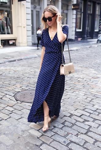 dress slit dress tumblr wrap dress blue dress polka dots maxi dress sandals sandal heels high heel sandals sunglasses bag