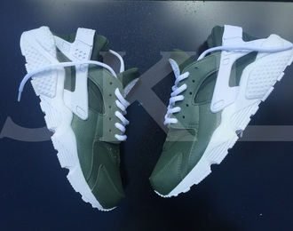 shoes nike huarache nike shoes nike sneakers customized nike huaraches khaki khaki trainers khaki green customised fashionista