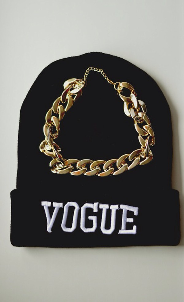 hat beanie vogue gold chain