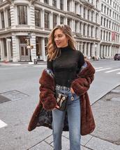 coat,tumblr,brown coat,fur coat,faux fur coat,oversized coat,oversized,top,turtleneck,black turtlrneck,denim,jeans