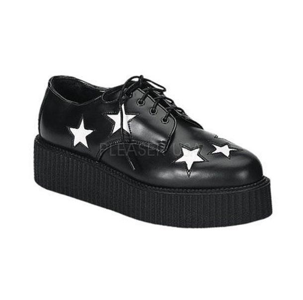 shoes platform shoes white stars star pattern white black creepers platform shoes flatforms stars