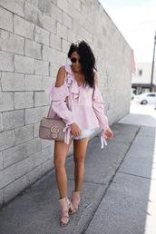 top,tumblr,lilac,cut-out shoulder top,cut-out,sandals,sandal heels,high heel sandals,bag,gucci,gucci bag,shoes,shorts