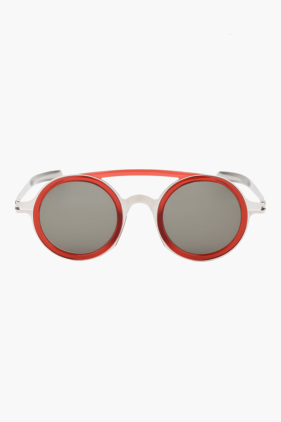 Damir doma silver and red round dd03 mykita edition sunglasses
